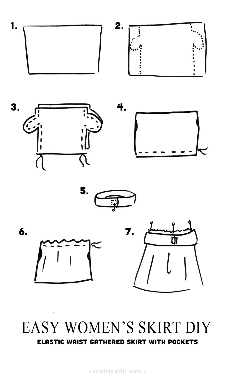 How to sew an easy elastic waist gathered skirt with pockets.