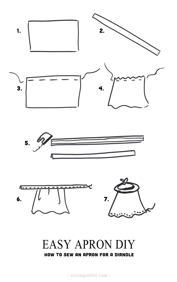 How to sew an easy apron, for a dirndl costume