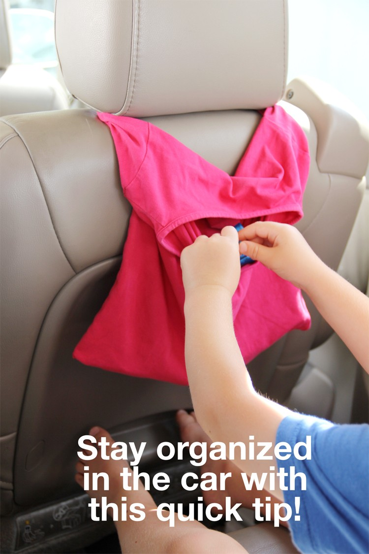 Easy T-Shirt Car Organizer DIY      super simple thrifted craft project.