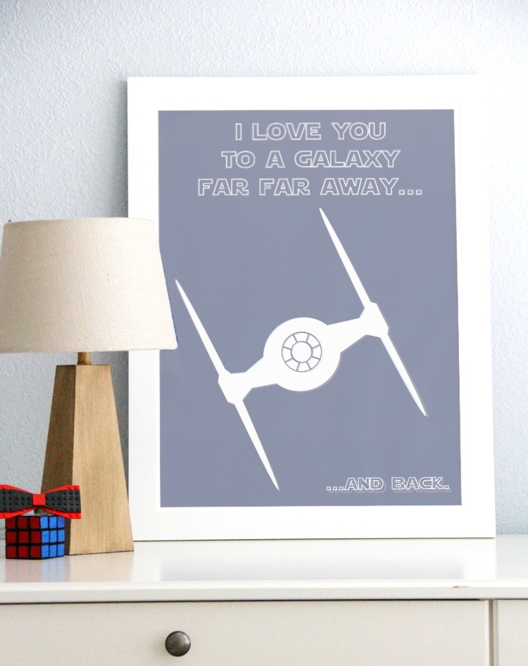 I love you to a Galaxy Far Far Away and Back, free Star Wars printable. Star Wars Valentines