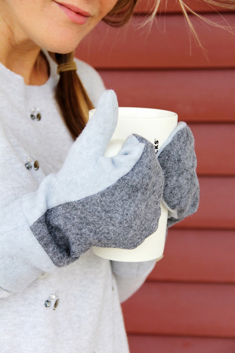 How to sew wool mittens ||  wool and fleece mittens DIY.