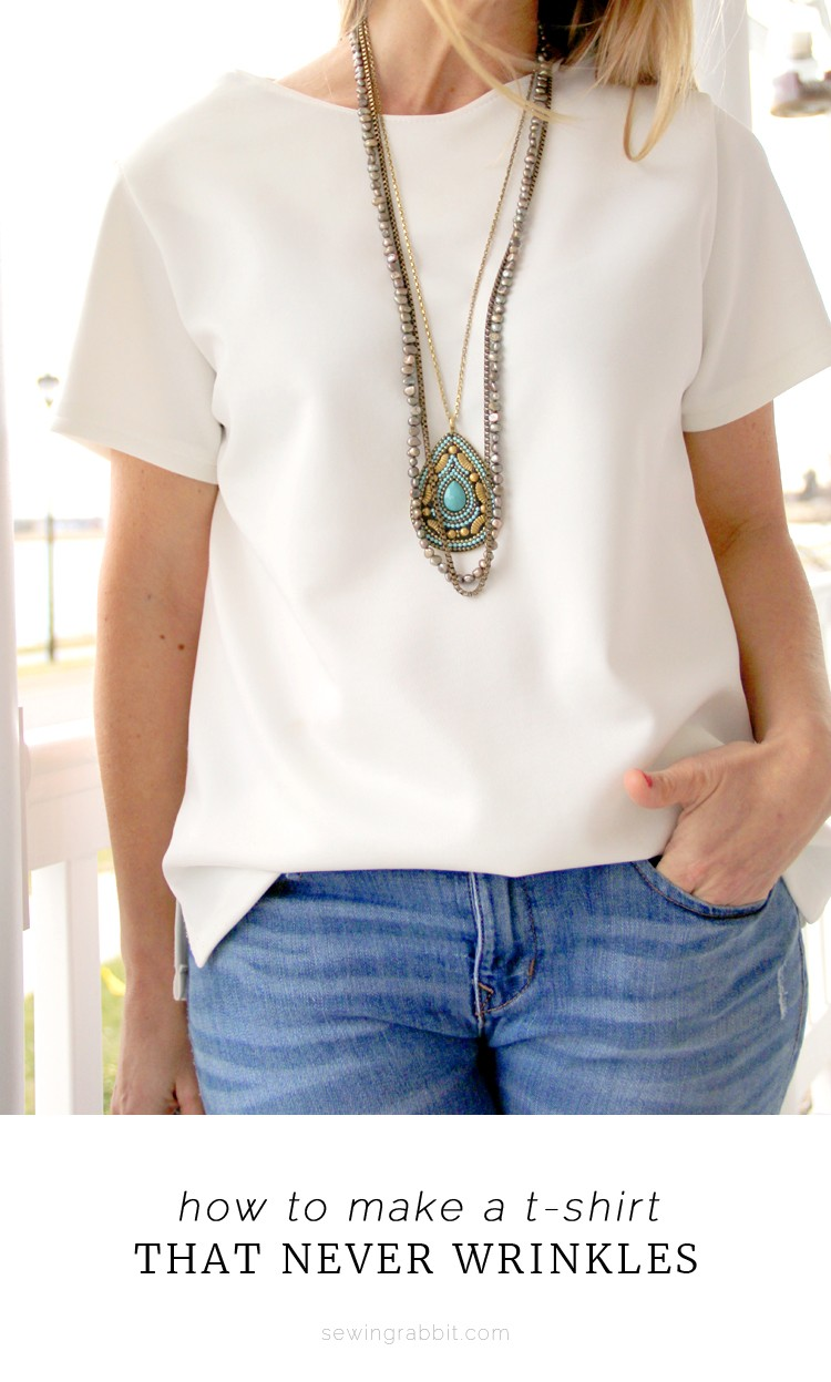 how to make a T-shirt that doesn't wrinkle    sleek lines and classic design, scuba knit T shirt