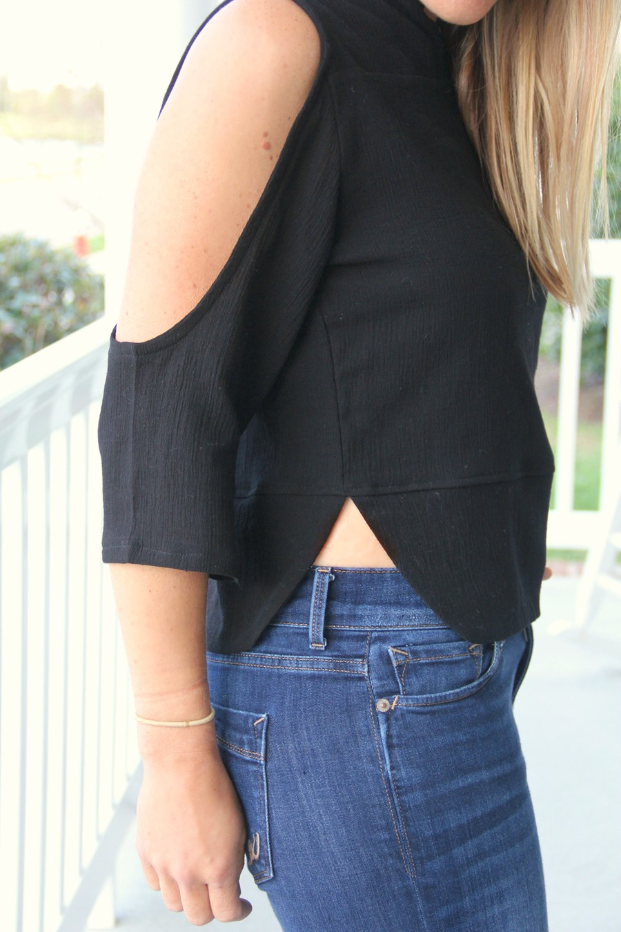 Open Shoulder Blouse DIY, with front yoke slit neckline and rounded band bottom