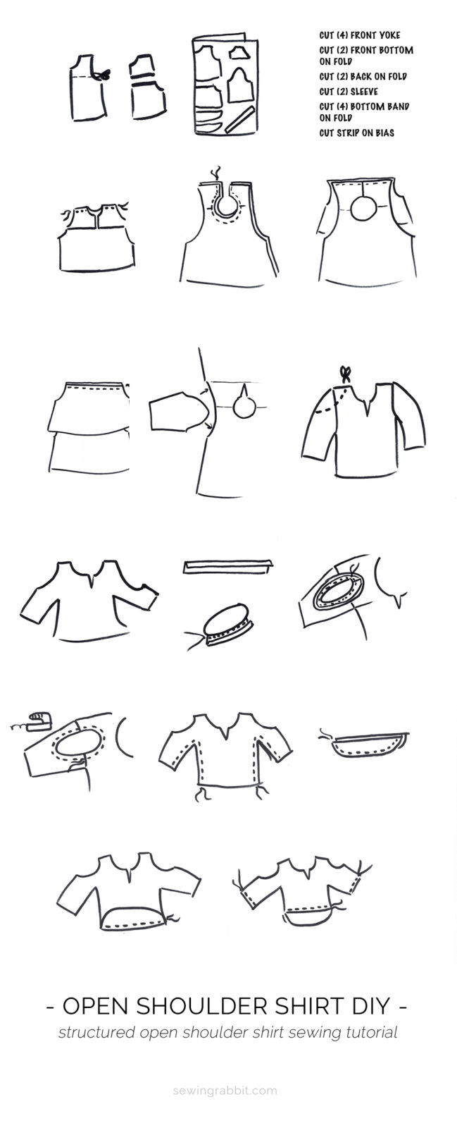 how to sew an open shoulder shirt