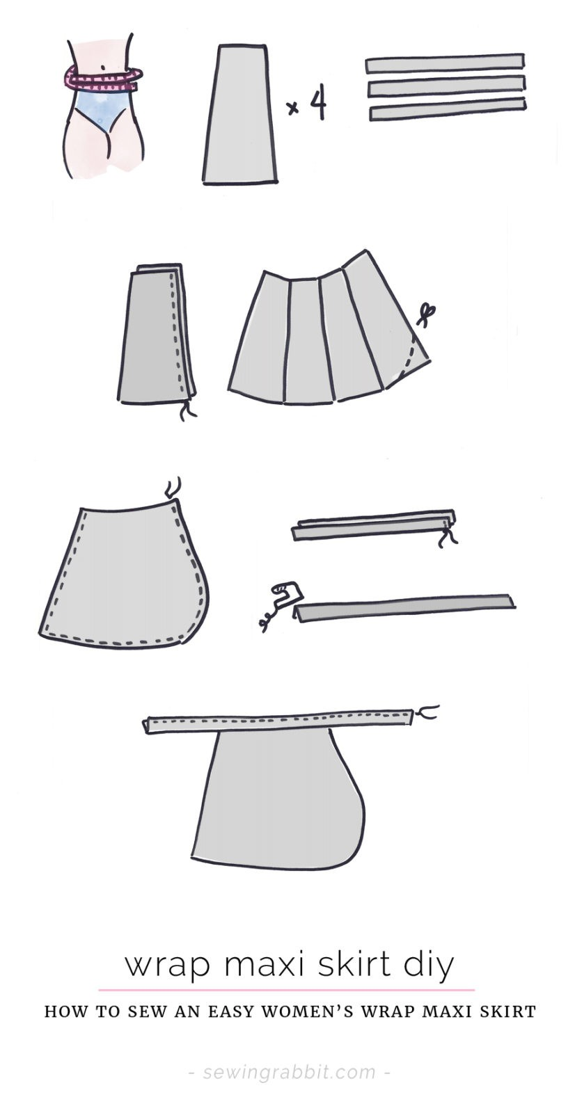 Wrap Maxi Skirt DIY - The Sewing Rabbit