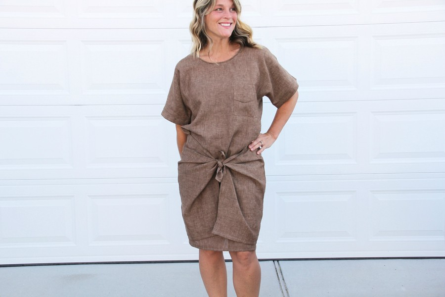Tie Dress Pattern in linen, pattern by Charlotte Kan, sewn by Jess Abbott