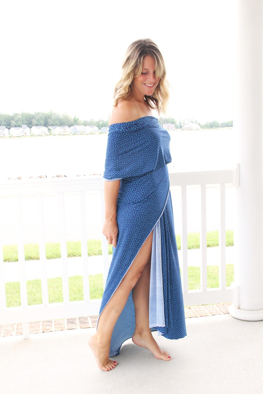 how to strategically wrap knit fabric to make a gorgeous no-sew knit maxi dress!