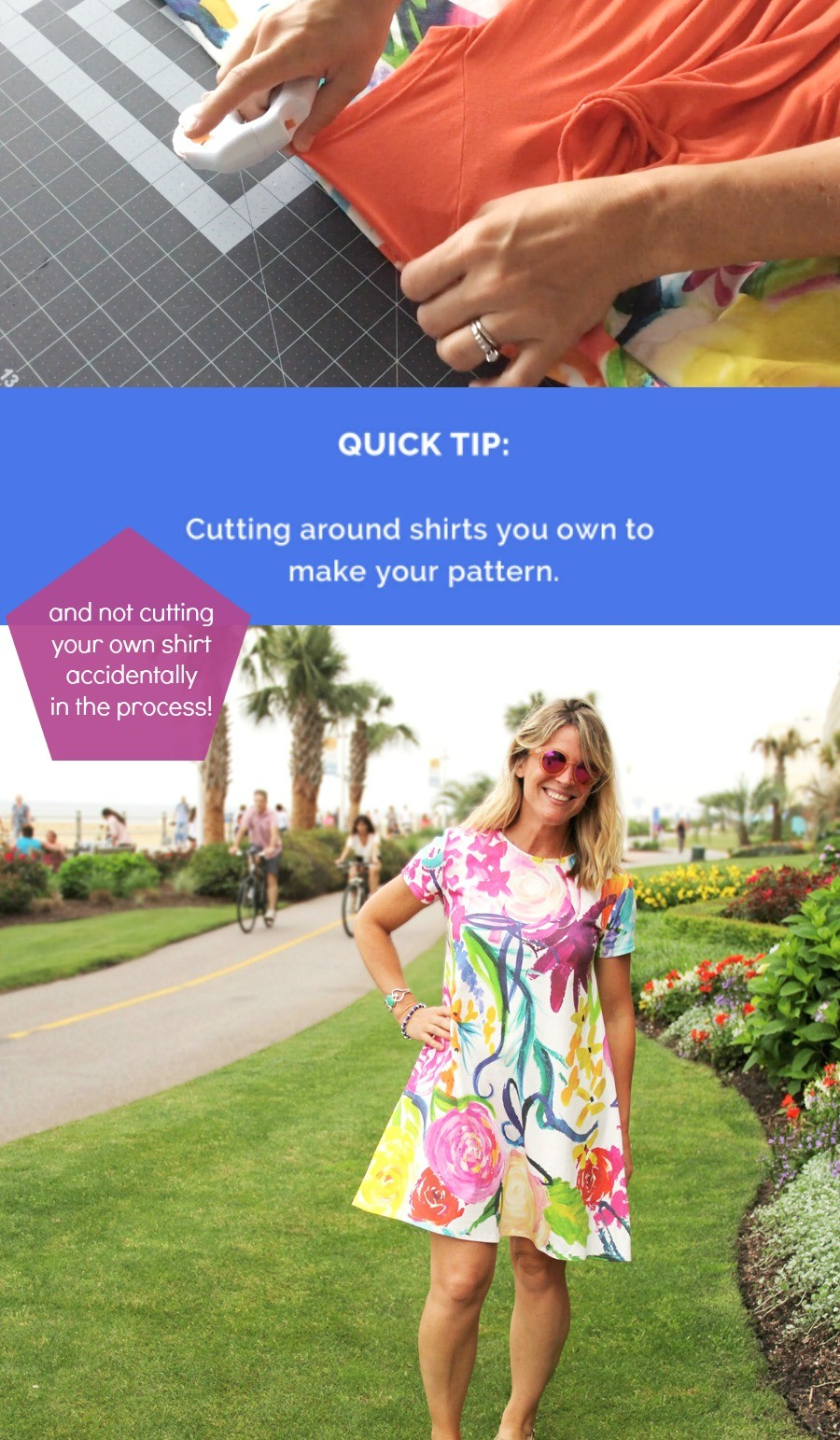 sewing tip: How to cut around a shirt or dress you love, to make your own pattern!