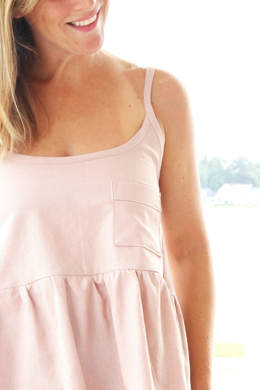 free women's tank top sewing pattern, tiered tank DIY