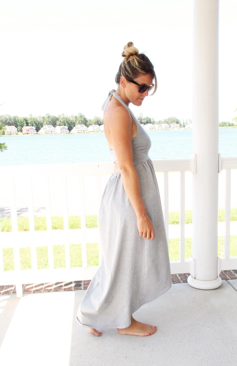 WAIT TIL YOU SEE THE BACK!!!  Simple knit maxi dress DIY, with a cross back feature - Cross Back Maxi dress DIY