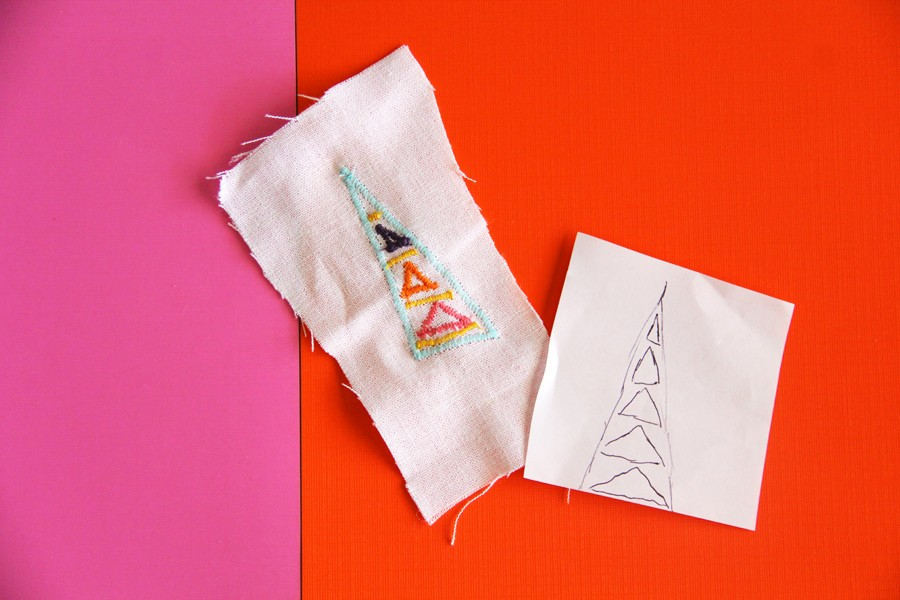 transfer your artwork onto fabric using a simple zigzag stitch