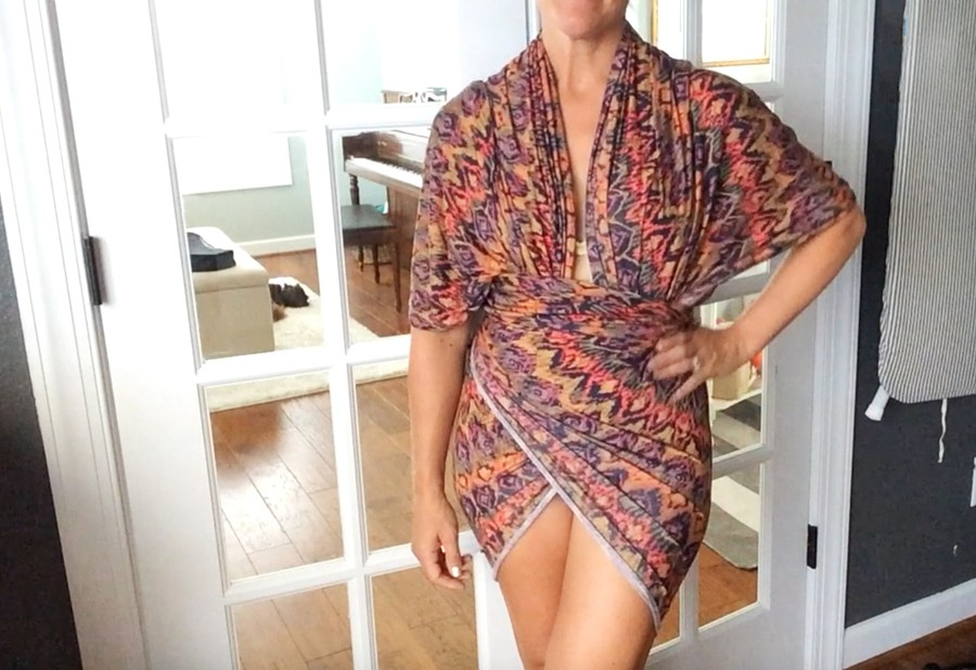 how to make a no sew wrap beach dress, with 1 yard of fabric and 1 minute of time