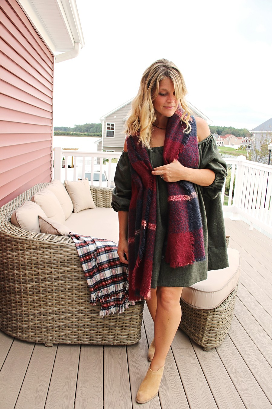 MAKE THIS LOOK: Flannel Off-the-Shoulder Dress