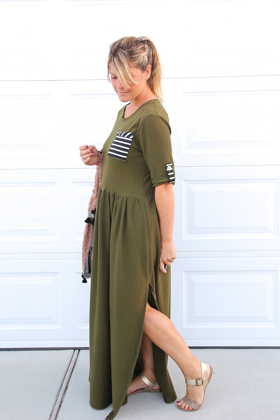 MAKE THIS LOOK: Striped pocket maxi dress || How to sew a patch pocket with bias binding