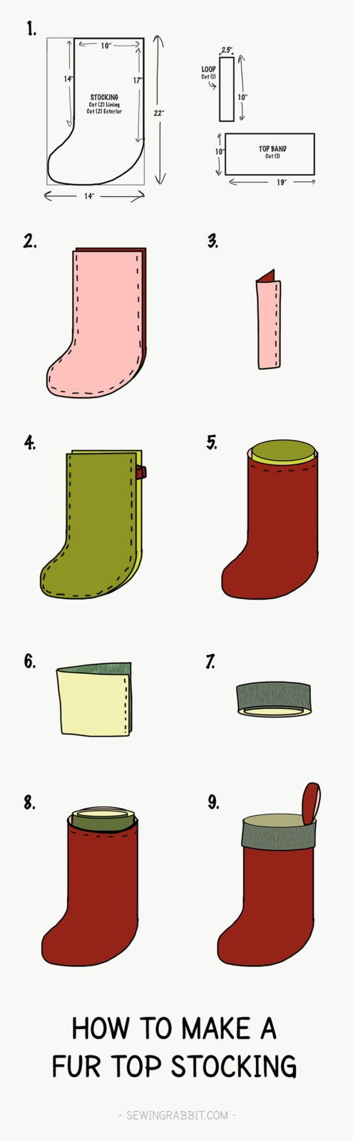 Fur top christmas stocking pattern