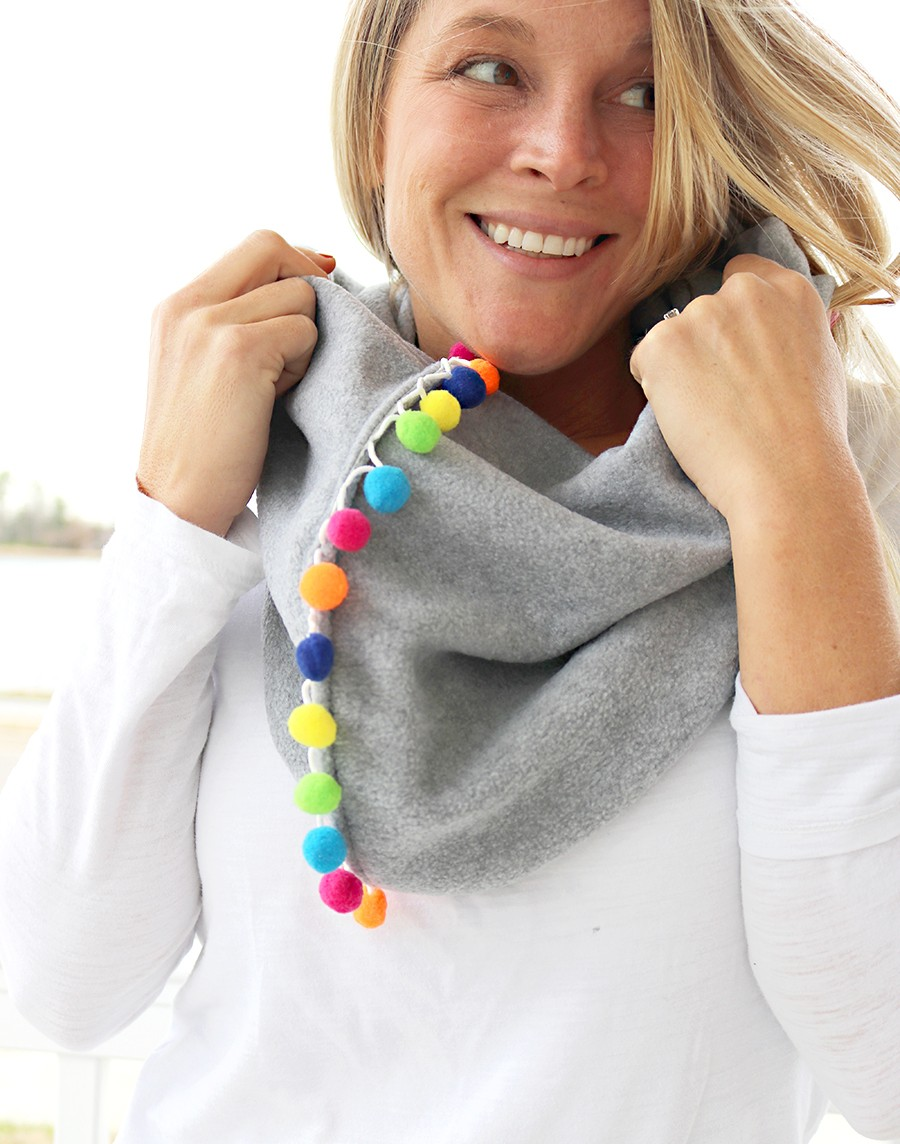how to sew a fun pom pom infinity scarf