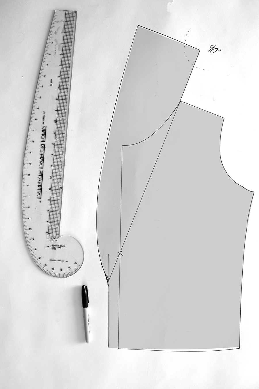 shawl collar pattern piece