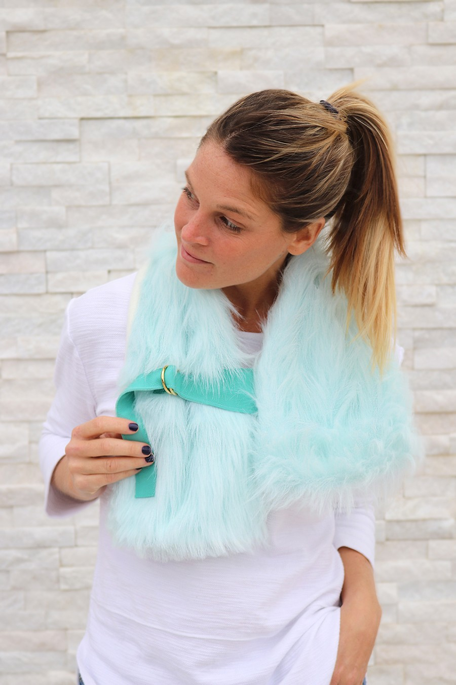 Faux Fur Buckled Stole DIY