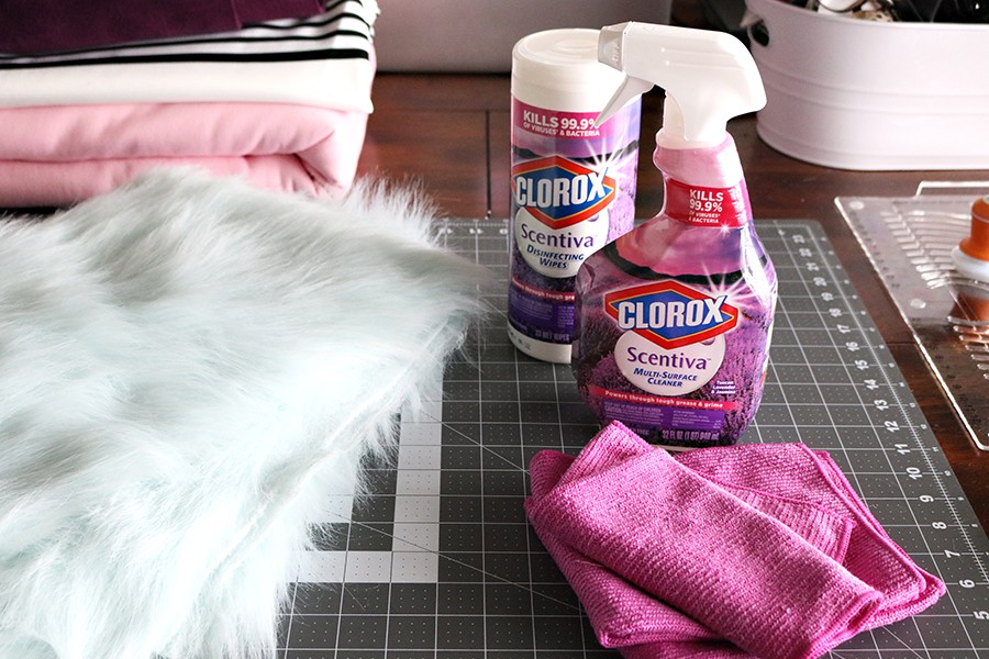 How to minimize the mess of sewing with fur with Scentiva spray and wipes by Clorox #ad