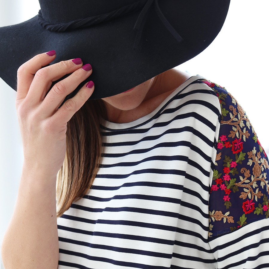 Turn a basic dolman top into a faux raglan sleeve look with gorgeous embroidered fabric