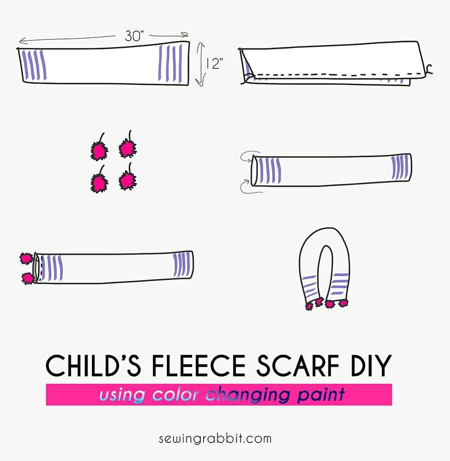 how to sew an easy child's fleece pom scarf